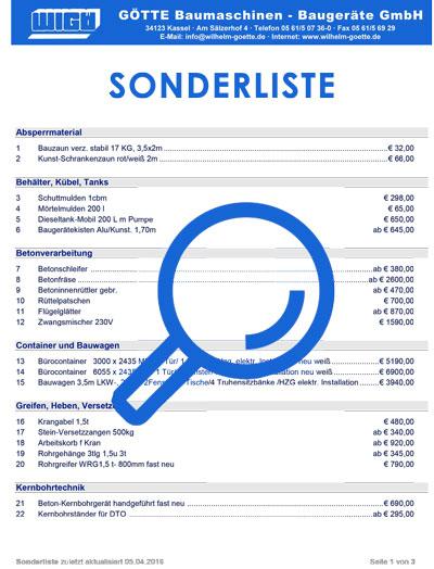 Sonderliste der Firma Götte in Kassel