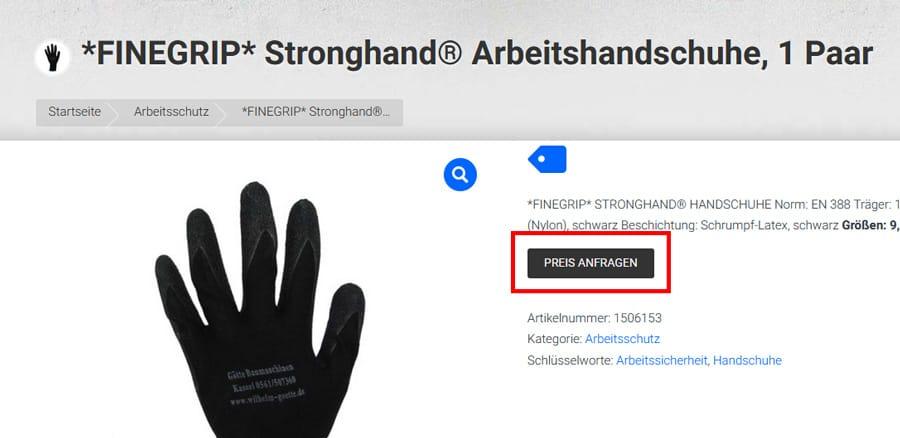 Preis anfragen Button - Individuelles Angebot anfordern Götte Shop Kassel